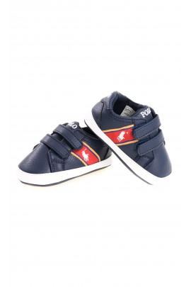 Navy blue Velcro sports shoes for baby, Polo Ralph Lauren
