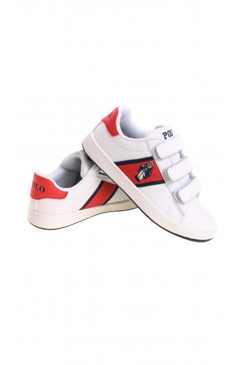 White kids Velcro sports shoes, Polo Ralph Lauren