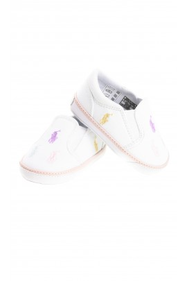 White canvas slip-on baby shoes in ponies, Ralph Lauren