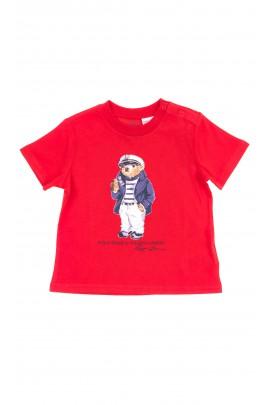 Czerwony t-shirt z przodu z kultowym misiem, Polo Ralph Lauren