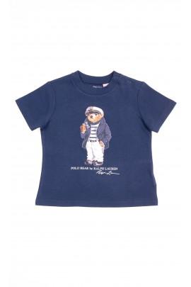 Granatowy t-shirt chłopięcy z kultowym misiem z przodu, Polo Ralph Lauren