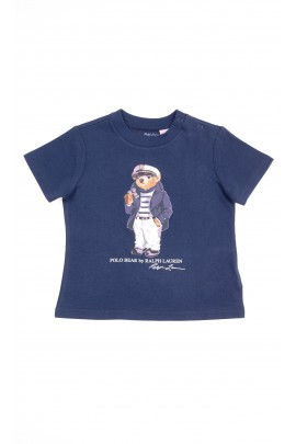 Navy blue T-shirt for boys with the cult teddy bear at the front, Polo Ralph Lauren