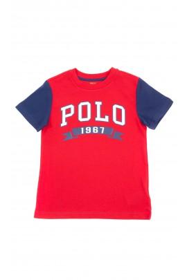 Czerwony t-shirt chłopięcy z napisem z przodu POLO, Polo Ralph Lauren