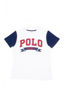 White boys T-shirt with the lettering POLO on the front, Polo Ralph Lauren