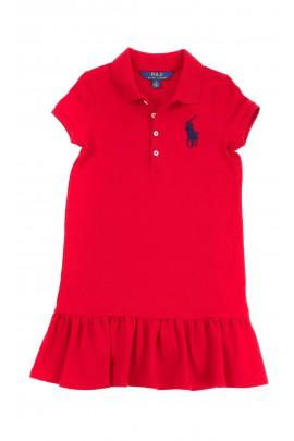 Czerwona sukienka z falbanką na dole, Polo Ralph Lauren