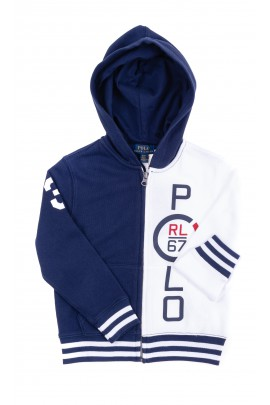 Boys white-navy blue hoodie, Polo Ralph Lauren