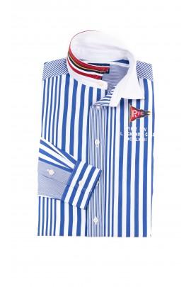 Elegant boy shirt in vertical blue and white stripes, Polo Ralph Lauren
