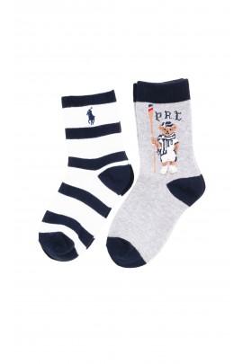 2-pack gray boys socks in black and white stripes, Polo Ralph Lauren