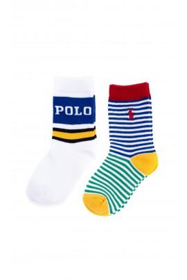 2-pack white boys socks in white-blue stripes Polo Ralph Lauren for ankle