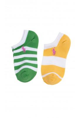 2-pack girls socks Polo Ralph Lauren in colorful stripes, ankle length