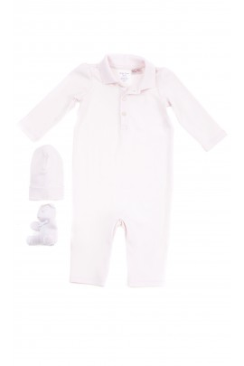 Elegant pink romper suit with polo collar Ralph Lauren
