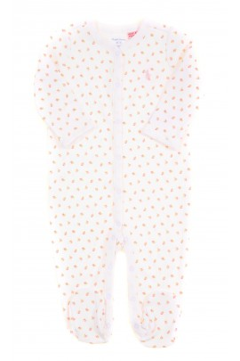 White sleepsuit with roses on the feet, Ralph Lauren
