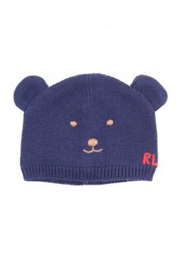 Warm navy blue baby beanie, Ralph Lauren