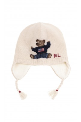 Warm beanie with the iconic teddy bear, Ralph Lauren