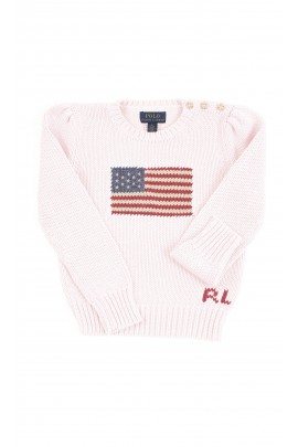 Pink girls sweater with a flag on the front, Polo Ralph Lauren