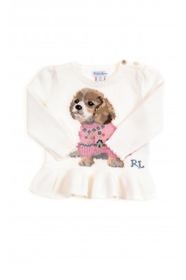 White baby sweater with a frill, Ralph Lauren