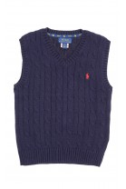 Navy blue cable-knit cotton sweater vest, Polo Ralph Lauren