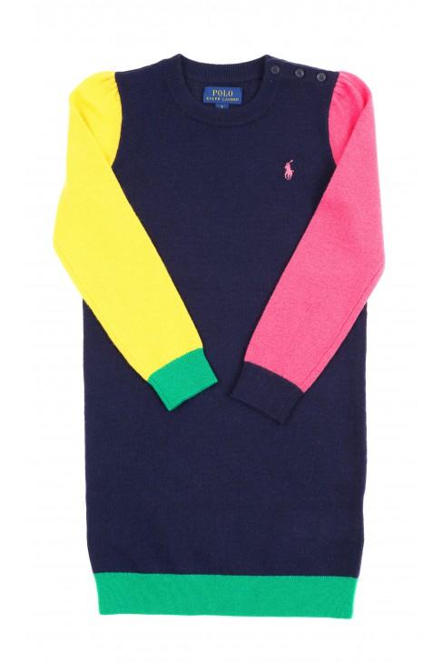 Colour-blocked sleeves navy blue wool-blend dress, Polo Ralph Lauren
