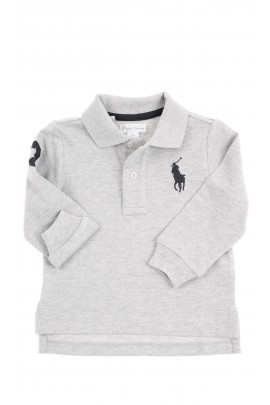 Grey long-sleeved polo shirt, Ralph Lauren
