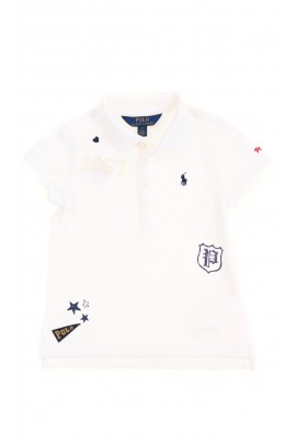 White polo T-shirt with applications for girls, Polo Ralph Lauren