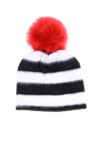 Black and white horizontal striped with a red tassel beanie, T-LOVE