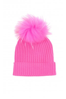 Pink beanie with tassel for girls, ELSY