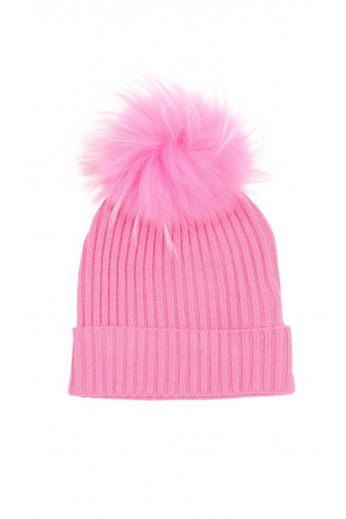 Coral pink beanie with tassel for girls, ELSY