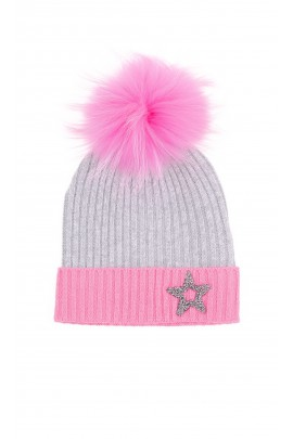 Grey beanie with pink tassel for girls, ELSY