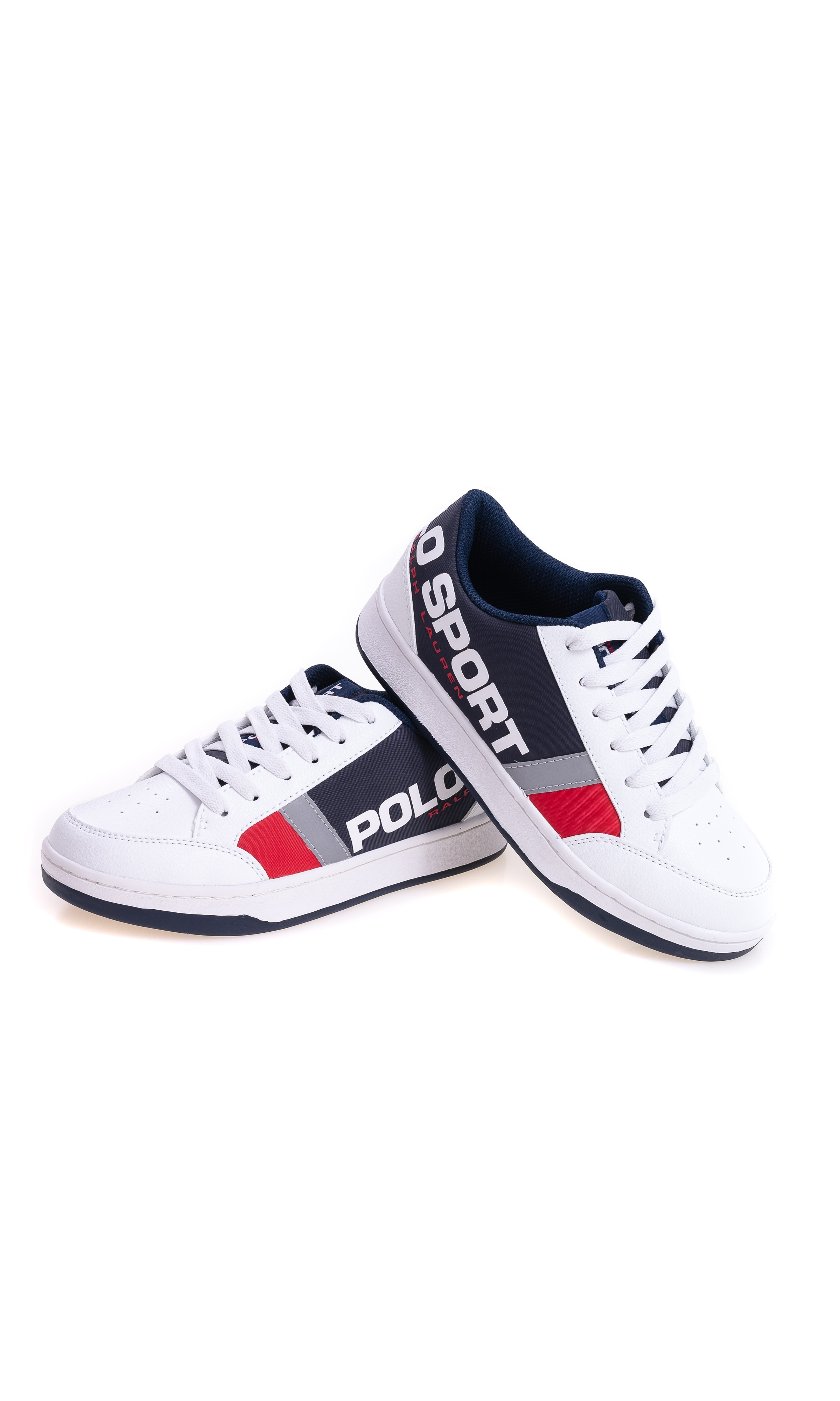 White Navy Blue Sports Shoes For Boys Polo Ralph Lauren Celebrity Club