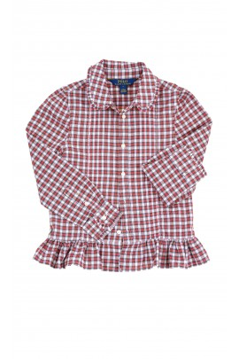 White and red checkered blouse with a long sleeves, Polo Ralph Lauren