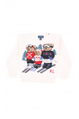 White - ecru sweater with three bears on the front, Polo Ralph Lauren