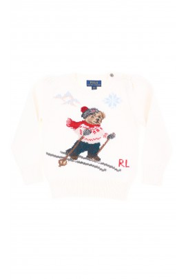 Ecru sweater with one teddy bear on the front and back, Polo Ralph Lauren
