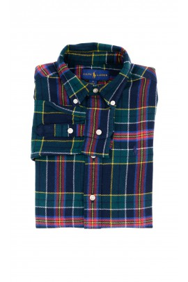 Warm navy blue and green checkered shirt for boys, Polo Ralph Lauren