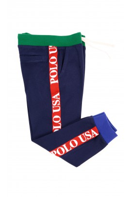 Navy blue sweatpants with red stripes, Polo Ralph Lauren