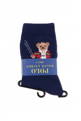 Dark blue socks with the iconic teddy bear for boys, Polo Ralph Lauren