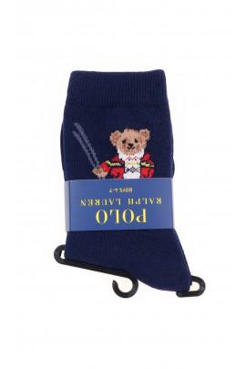 Dark blue socks with the iconic teddy bear for boys, Polo Ralph Lauren