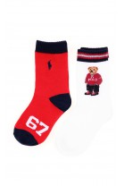 White socks with the iconic teddy bear and a second pair - red classic, Polo Ralph Lauren