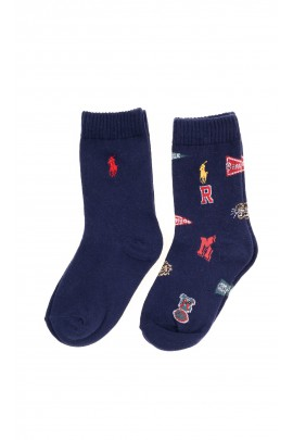 Iconic printed navy blue socks and a second classic pair, Polo Ralph Lauren