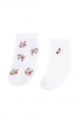 Ecru 2 pairs of socks rose printed, Ralph Lauren