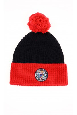 Black and red knitted hat with pompom, Polo Ralph Lauren