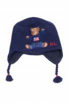 Navy blue cap with ears with the iconic teddy bear, Ralph Lauren