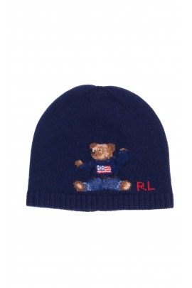 Navy blue knitted hat with iconic teddy bear, Polo Ralph Lauren