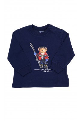 Navy blue T-shirt with the iconic teddy bear in the front with long sleeves, Ralph Lauren