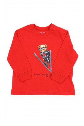 Red longsleeve with the iconic teddy bear in the front, Ralph Lauren