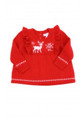 Baby red sweater for girls, Ralph Lauren