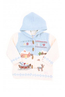 Ecru thick double hoodie for babies, Ralph Lauren