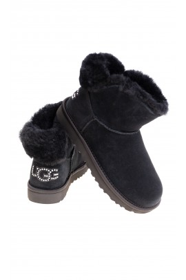 Black mini boots with the logo made from Swarovski crystals on the back, UGG
