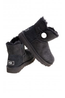 Black mini boots fastened with a crystal button on the side, UGG
