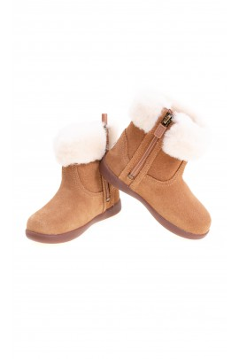 Brown baby mini ankle boots with side zip, UGG