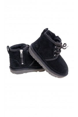 Black ankle boots with side zip for boys, UGG